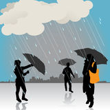 Peoples under the rain. Vector Royalty Free Stock Photography