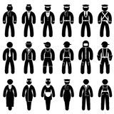 Peoples uniform. Set black and white vector icons of people in uniforms Stock Photo
