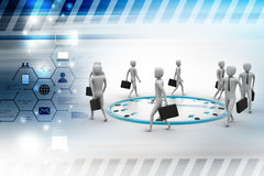 Peoples walking around the clock Royalty Free Stock Photography