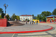 Peoples walking on the Lenin Square in Kerch, Ukraine Royalty Free Stock Photography