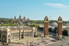 Peoples walking and relaxing near National Museum in Barcelona Royalty Free Stock Image