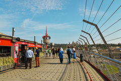 Peoples walking on roof of Arenas de Barcelona Royalty Free Stock Image