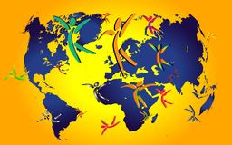 Peoples and world map royalty free illustration