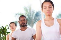 Morning meditation stock images