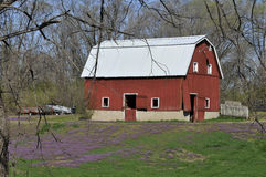 Peoria Illinois Barn In Spring. Red barn shot in rural Peoria Illinois Stock Photos