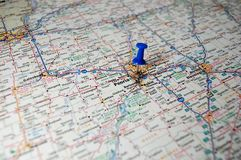 Peoria, Illinois. A map of Peoria, Illinois marked with a push pin royalty free stock photo
