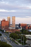 Peoria skyline. At sunset. Seen during spring afternoon with the City Hall building and Twin Towers royalty free stock photo