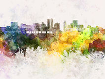 Peoria skyline in watercolor Royalty Free Stock Photography