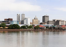 Peoria. A view of the skyline of Peoria, Illinois from across the Illinois River Stock Image