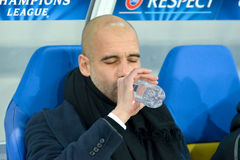 Pep Guardiola is drinking water Stock Photo