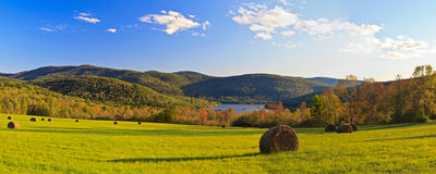 Pepacton Hay Field in Autumn Royalty Free Stock Photo