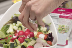 Peparation of a Salad with greens, radishes, cucmbers, olives, t. Preparation of a Salad made with greens, lettuce, radishes, cucumbers, olives, tomatoes in a Stock Photo