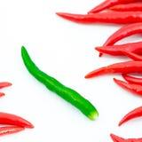 Pepe di peperoncino rosso caldo verde Fotografia Stock Libera da Diritti