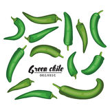 Pepe di peperoncino rosso del fumetto Verdura verde matura Vegetariano delizioso Fotografia Stock