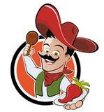 Pepe di peperoncino rosso messicano del wth dell'uomo Fotografie Stock Libere da Diritti