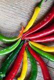 Pepe di peperoncino rosso rosso, giallo e verde Fotografia Stock Libera da Diritti