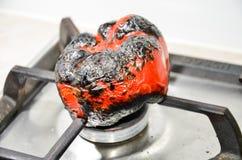 Pepe infornato su gas Fotografia Stock
