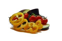 Pepe, melanzana e pomodori Fotografia Stock