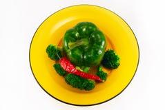 pepe, pepe di peperoncino rosso e broccolo Immagine Stock