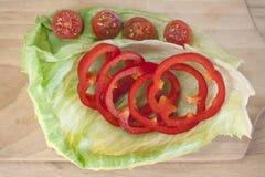 Pepe rossi e pomodori Fotografia Stock