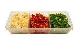 Pepe rosso, aglio, cipolla isolata Fotografie Stock Libere da Diritti