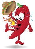 Pepe rosso di salto con il suo Sombrero Fotografia Stock Libera da Diritti