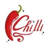 Pepe rovente disegnato a mano ingrediente piccante Logo del peperoncino rosso Spezia Chili Pepper caldo isolato su fondo bianco A illustrazione di stock