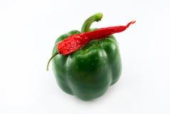 Pepe verde e peperoncino rosso Fotografie Stock