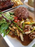 黑peper猪肉用米 免版税库存照片