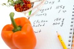 Peper en dieet-boek royalty-vrije stock afbeelding