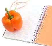 Peper en notitieboekje Stock Afbeelding