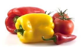 Peper en tomaten stock afbeelding
