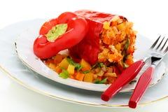 Peper gevuld groenten en Turkije. Royalty-vrije Stock Afbeeldingen