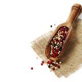 Peper in houten lepel Royalty-vrije Stock Afbeelding