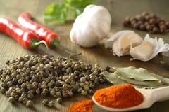 Peper, knoflook en Spaanse peper Stock Foto