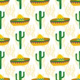 Seamless vector pattern with mexican festive symbols silhouettes: cactus, sombrero stock illustration