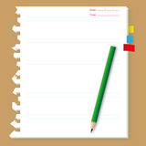 Peper sheet with pencil. Original paper sheet and bookmark with pencil Royalty Free Stock Images