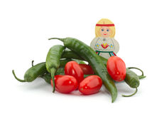 Peper, tomaten en een meisje Stock Foto