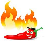 Peper van de Spaanse peper van het beeldverhaal de Roodgloeiende vector illustratie