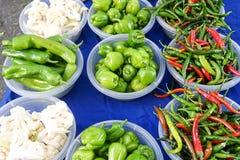 Peper in verschillende kleuren en soorten en bloemkolen Royalty-vrije Stock Foto's