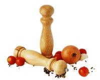 Peper, zout en tomaten Stock Afbeelding