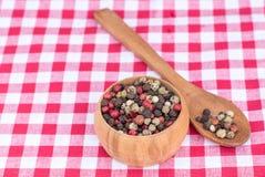 Peperbollenmengeling in een houten lepel en houten kom op picknickdoek Royalty-vrije Stock Afbeelding