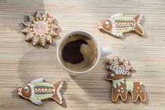 Peperkoek en koffie Royalty-vrije Stock Afbeeldingen
