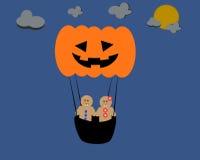 Peperkoek met Halloween-luchtballon Royalty-vrije Stock Afbeelding