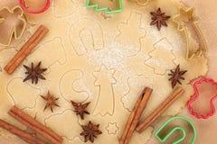 Peperkoekdeeg voor Kerstmiskoekjes Stock Afbeelding