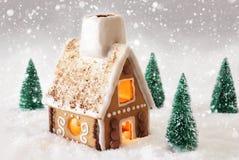 Peperkoekhuis op Sneeuw met Sneeuwvlokken en Gray Background Stock Fotografie