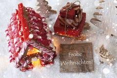 Peperkoekhuis, Slee, Sneeuwvlokken, de Middelen Vrolijke Kerstmis van Frohe Weihnachten Stock Afbeeldingen