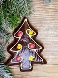 Peperkoekkoekje in de vorm van Kerstbomen Royalty-vrije Stock Afbeelding