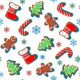 Peperkoekkoekjes met sneeuwvlokken Kerstmisdruk Naadloos patroon wit Vector stock illustratie