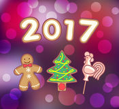 Peperkoekmens, Kerstboom en Haanlolly Royalty-vrije Stock Foto